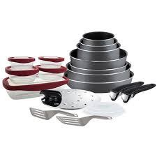 batterie de cuisine tefal pas cher batterie de cuisine 20 pièces ingenio essential gris tefal pas cher