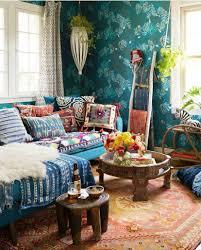 wohnzimmer im boho look mit tollen mustern und farben