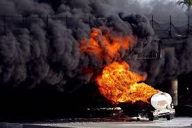100 Tanker Truck Explosion A Burning Doubletanker Gasoline Truck Sends Smoke Skyward In