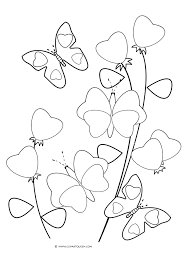 Printable Coloring Pages Butterflies Flowers And Heart Shaped Free Full Size