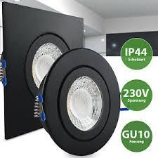 details zu led einbaustrahler schwarz feuchtraum spot dusche bad vordach ip44 gu10 230v