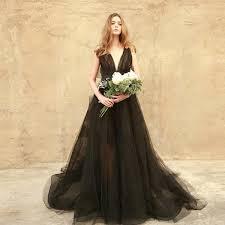 A Touch Of Boho Black Chiffon Wedding Dress
