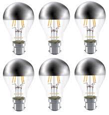 6x sylvania crown silver a60 mirror light bulb 4w b22 bc led 450lm