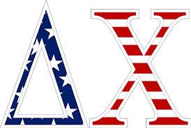 Delta Chi American Flag Greek Letter Sticker 2 5