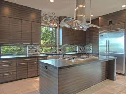 Cool Contemporary Kitchen Cabinets With Dark Cabinetry Glass Mosaic Tile Backsplash
