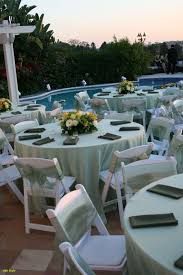 Garden Chairs Wedding Beautiful Pastel Green Satin Table Cloths White Wood Padded Folding