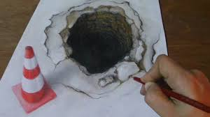 3D Art Drawing A Hole And Traffic Cone Pencils