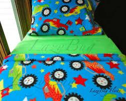 Monster Trucks on Blue Boys Toddler Bedding Fleece Bed Set