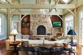 rustic living room with hardwood floors built in bookshelf in