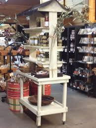 Rustic Wood Tiered Retail Market Shelves Display Rack Cart With Roof Canopy