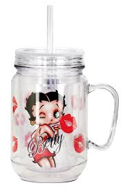 Betty Boop Bath Set by Amazon Com Betty Boop Kiss Mason Jar Red Kitchen U0026 Dining