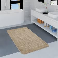 moderner badezimmer teppich badvorleger kariertes muster einfarbig in beige