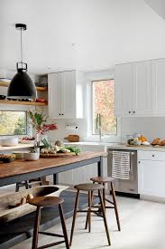 Rustic Wooden Island In A White Kitchen With Black Industrial Pendant Light I Could Imitate This Styling All Whit Cabinets Wall Natural Colored