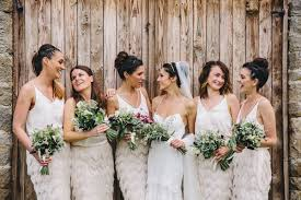 The Bridesmaids Were Rocking Trendy Separates With Tassel Skirts And Plain Tops