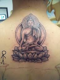 Upper Back Asian Buddha Tattoo Design
