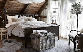 IKEA Has Rustic Bedroom Furniture Like HEMNES Bed Frame In Black Brown Stained Solid Pine