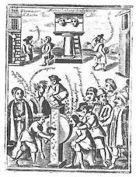 17C Italian Print Of Nose Being Held To The Grindstone Note Similar Lubrication