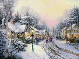 Thomas Kinkade Christmas Tree by Village Christmas Thomas Kinkade Winter Painting In Oil For Sale