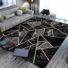 schwarz gold marmor moderne luxus teppiche für wohnzimmer