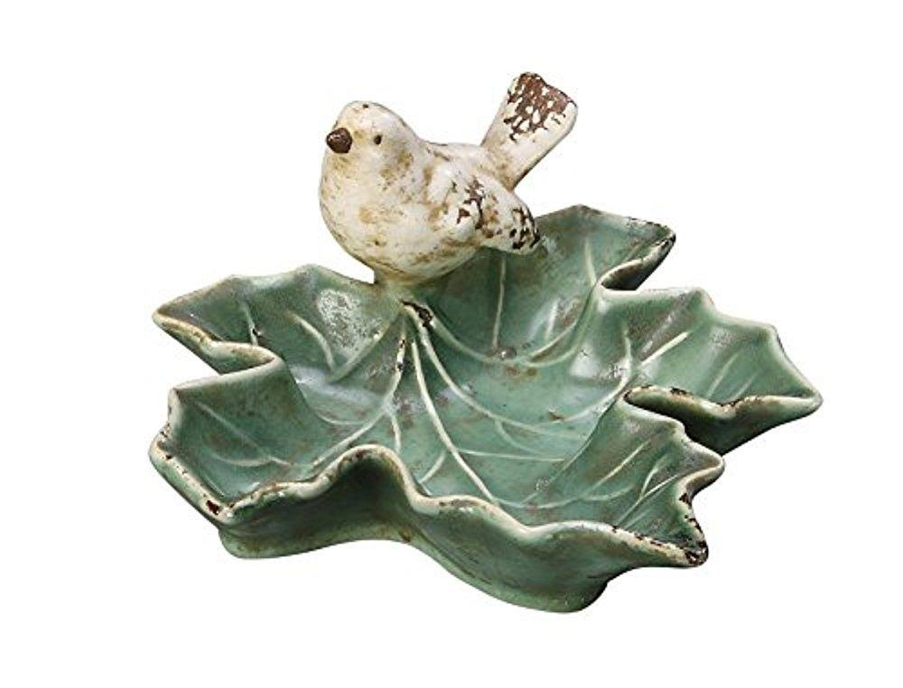 Creative Co Op Ceramic Leaf Dish - with Bird, Green