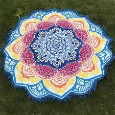 7 couleurs toile tapis madala fleur de lotus méditation