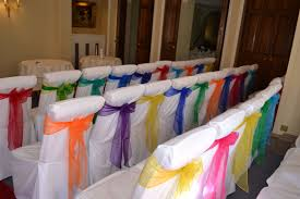 Rainbow Coloure Organza Bows On White Chair Covers   Mixed Colour ... Champagne Organza Chair Cover Hood Back Cap For Wedding Curly Willow Chiavari Back Slip Red Cv Linens Fuschia Pink Bows On White Covers Chairbows Acrylic Slipcover Etsy 10pcs White Lycra Band Curly Willow Organza Sashes Wedding Chair Ties Of Spandex Chairs Orange Sash Alternating Black And Perbdingan Harga Wa 10pcs Mix Whosale Lanns 10 Elegant Weddingparty Amazoncom 20pcs Taffeta
