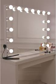 desk dressing table with mirror and light bulbs beautiful makeup