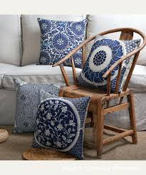 Elegant Rustic Couch Pillows Or Blue White Floral Art Motif Linen Throw Pillow Cover Decorative 47