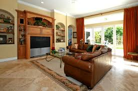 Red Curtains Living Room Ideas by Modern Cream Ceramics Floor Large Tiles Living Room With Brown