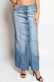 themogan blue washed jean button down long denim maxi skirt