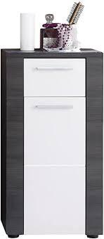 trendteam smart living badezimmer kommode schrank xpress 40 x 78 x 28 cm korpus und frontblenden in esche grau nachbildung und front in weiß