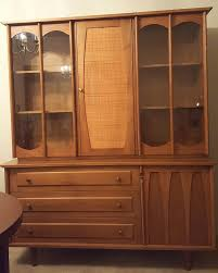 mid century modern caned china cabinet light wood china cabinets