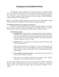 Sample Of Social Media Policy Hr