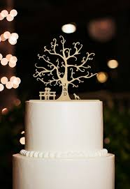 Cherry Wood Tree Cake TopperSilhouette Topper DogPersonalized Initial TopperRustic Wedding TopperBride And Groom