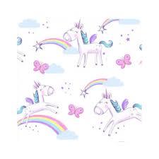 Pink And Purple Girls Unicorn Rainbow Wallpaper FD41922