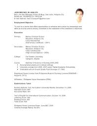 Enchanting Example Of Resume For Undergraduate Also Template College Student Graduates No Experience