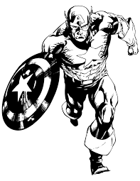 Captain America Charging Comic Book Coloring Page