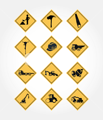 100 Signs For Trucks Icon Set Of Warning Boards With Tools And Trucks Signs Over White