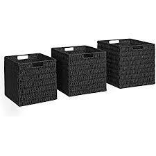 songmics aufbewahrungsboxen geflochten 3er set aus papierseil aufbewahrungskörbe würfel für spielzeug und kleidung kleiderschrank schlafzimmer