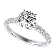 Trellis Diamond Engagement Ring With Round Cut Center Stone
