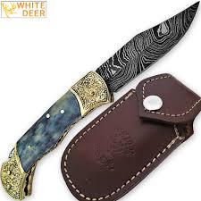 WHITE DEER Lockback Damascus Folding Knife Grey Giraffe Bone Handle