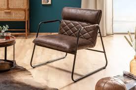 casa padrino retro lounge sessel vintage braun schwarz 71 x 72 x h 79 cm kunstleder sessel mit metallgestell wohnzimmer möbel