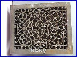 vtg cast iron victorian floor grate with registers louvers large set 2