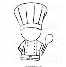 Vector Coloring Page of a Black and White Outlined Coloring Page of a Human Factor Chef