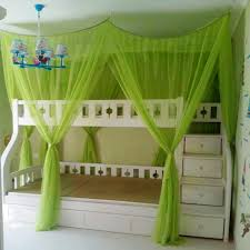 Lovely Loft Beds For Teenagers In White With Green Curtain Plus Chandelier Teen Bedroom Decor