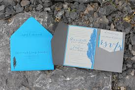 Rustic Mountain Tree Blue Wedding Invitation Suite Calgary Canmore Banff