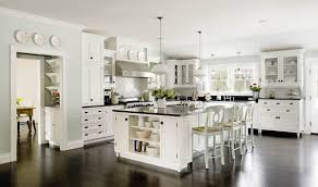 Outstanding Traditional White Kitchen Ideas With Wooden Island And Black Granite Countertop