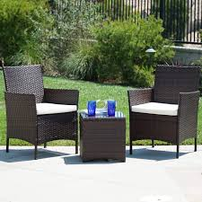 Belleze 3pc Outdoor Patio Furniture Wicker Cushion Seat Coffee Backyard  Yard High-Backrest Bistro Set Glass Top Table Chairs, Brown Chair Overstock Patio Fniture Adirondack High Chairs With Table Grand Terrace Sling Swivel Rocker Lounge Trends Details About 2pcs Rattan Bar Stool Ding Counter Portable Garden Outdoor Rocking Lovely Back Quality Cast Alinum Oval And Buy Tables Chairsding Chairsgarden Outside Top 2 Pcs Set Household Appliances Cool Full Size Bar Stools