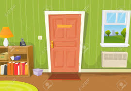 Illustration Of A Cartoon Home Interior With Living Room Door Entrance Various Household Objects And