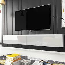 selsey fernsehschrank tv lowboard hängend stehend in weiß mit hochglanzfronten und led 180 cm